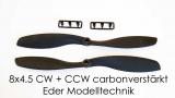 Quadcopter Propeller Nylon Kohle/Carbonverstärkt 1 Paar 8x4.5 Rechts und Linkslauf schwarz 5mm